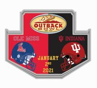 2021 OUTBACK BOWL GAME PIN OLE MISS REBELS VS INDIANA 2020 NCAA COLLEGE FOOTBALL