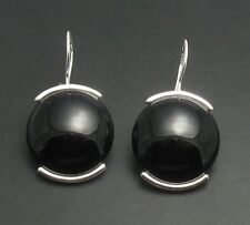 STERLING SILVER EARRINGS NATURAL BLACK ONYX NEW 925