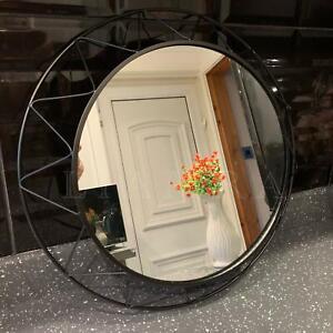 40cm 3D Black Round Geo Mirror Wire Industrial Style Mirror Round Wall Mirror