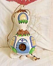 """""""Cottage"""" Gourd Birdhouse/Feeder Handpainted, bird feeder, decorative gourd"""