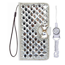 Bling Crystal fashion Leather slots Wallet Flip Protective Case Cover & strap #b
