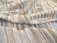 3 5/8 yards chenile and satin stripe decorator upholstery material in spa multi