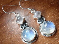 Round Rainbow Moonstone Square Rose Quartz Earrings 925 Sterling Silver Dangle