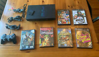 Sony Playstation 2 PS2 SCPH-39001 Fat Console: Cords, 3 Controllers,  6 games