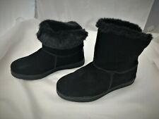 Skechers Black Suede Leather Fur Lined Ankle Boots Size 6