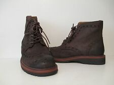 GBX Mens Linc Wing Tip Lace Up Leather Casual Dress Boots Chocolate Brown Sz 8 M