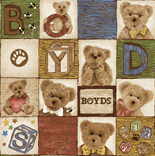 BOYD'S BEARS~SPX FABRIC PANEL~ ALPHABET IN SQUARES/BLOCKS~44  BY 23 INCHES~TEDDY