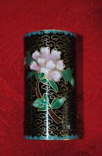 Vintage Cloisonné Enamel Brass Toothpick/Matches Holder Black Gold Blue, Flowers