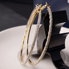 Women Crystal Diamante Rhinestone Large Hoop Round Dangle Earring Jewelry 6CM