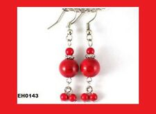 Sale! Red Coral Tibetan Silver Hook Dangle Earrings, Christmas Birthday Gift