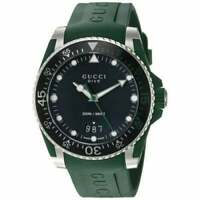 Gucci YA136310 Dive 40MM Black Dial Men's Green Rubber Watch