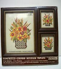 Sealed Paragon Floral Cross Stitch Kit # 5301 Set of 3 Framed Designs Great GiFt