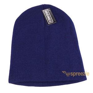 Navy Blue Skull Cap Plain Beanie Knitted Ski Hat Skully Warm Winter Solid New