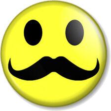 "Moustache Smiley 25mm 1"" Pin Button Badge Novelty Movember Mustache Tash Hipster"