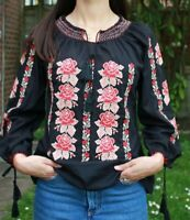 Women's Ethnic Blouse Rose Flower Embroidered Romanian Peasant Black Top S-XXL