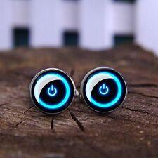 Light Blue Black Round Neon On Power Button Cufflinks Formalwear Glow UK Seller