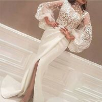 A Line Long Sleeves Bubble Style Lace Evening Dress Split Prom Gowns Custom