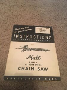 OLD MALL GAS ENGINE CHAIN SAW INSTRUCTION & PARTS LIST MANUAL