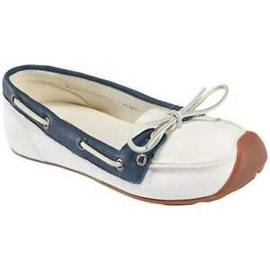 KEEN Catalina Canvas Boat Shoe Off-White Blue Canvas 7
