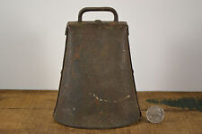 Antique Cow Bell Lg. Cast Iron Forged Hammered Pinned Sides Clanger Farm Sargent