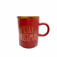 Rae Dunn MERRY CHRISTMAS Coffee Tea Mug Wood Lid Coaster Red Gold 2020 NEW!