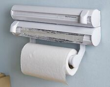 3-in-1 Kitchen Roll Holder Cling Film Kitchen Towel Foil Dispenser Wall Mounted