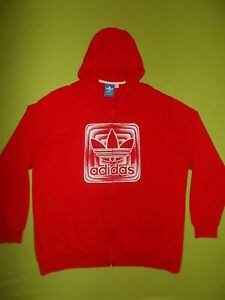 Hoodie Jacket ADIDAS (XL) PERFECT !!! RED BIG LOGO Hooded