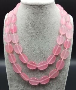 AAA+ 13x18mm Pink Jade Oval Gemstone Beads Long Necklace 24/28/35 inch