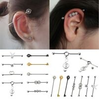 316L Surgical Steel Hand Gun Ear Cartilage Industrial Barbell Piercing 14G