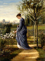 FISHER WILLIAM MARK IN THE GARDEN ARTIST PAINTING OIL CANVAS REPRO WALL ART DECO