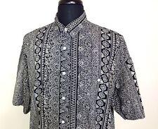 Tom Tailor Mens L Black Geometric Floral Rayon SS Hawaiian Aloha Shirt