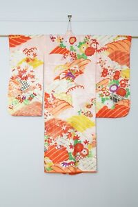 Traditional vintage kid's bright kimono with gold couching