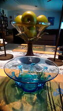 Greenfield Village Handcrafted blue glass bowl 7 1/4""