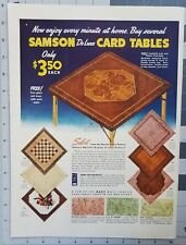 Vintage 1940s Print Ad 1943 Samson De Luxe Card Table Poker Bridge Furniture