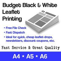 Black & White Cheap Budget Printing Leaflet/Flyer/Advert/Newsletter/Mailer A4 A5