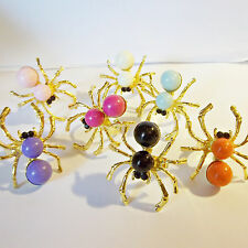 SPIDER RING Faux Pearl Fun HUGE Goldtone Adjustable Fashion Trendy Bug Insect