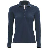 B&C Collection Womens Safran Pure Plain Long Sleeve Polo Shirt Top T-Shirt Tee
