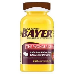 Bayer Genuine 325 mg. Aspirin 500 Coated Tablets EXP 9/23 NEW
