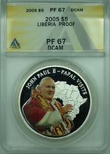 2005 Liberia $5 Proof Silver Coin Pope John Paul II ANACS PF-67 DCAM (WB1)