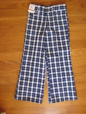 vtg Buster Brown retro blue Plaid Flared Pants bell bottom boy girl jeans Nos 6