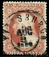"Sc #26 ""AUG 9 1860"" Year Date Town Cancel SON 3 Cent Washington 1857-61 US 3065"