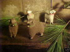 """Brown Woolly Xmas Putz Sheep Stick Legs & Bell Primitive Old Vtg Style 2 1/2"""""""