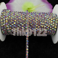 2Yards Light purple Ab Crystal Glass Rhinestone Chain Compact Silver Chain Sew