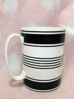 KATE SPADE Concord Square Porcelain Coffee Mug Tea Cup LENOX White Black Stripes