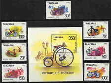 TANZANIA 1992 CYCLING - BICYCLES  MINT COMPLETE SET & SOUVENIR SHEET - $11 VALUE