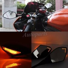 Universal Motorcycle Racing Bike Side Mirrors & LED Turn Signal Light for Honda