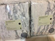 West Elm Two (2) Bark Texture Jacquard Curtains 48x108 Platinum Gray Blackout