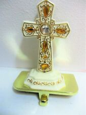 Christian Cross Stocking Holder Ivory Porcelain And Gold Gilt Crystals Ornate