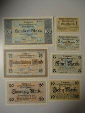 MEMELGEBIET 1923 - 7 Banknoten ab 1 Mark - 100 Mark in Erh. I -