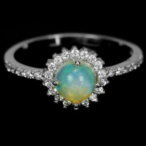 NATURAL AAA RAINBOW OPAL CABOCHON & WHITE CZ STERLING 925 SILVER RING SIZE N